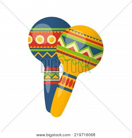 Carnival, party and festive accessories. Festive musical instrument in form beautiful, colorful maracas. Carnival in Mexico City, festival. Holiday, vacation, trip, travel Vector Illustration