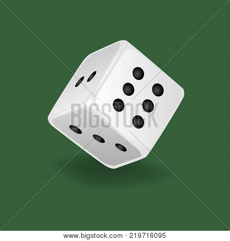 Realistic white dice. Gambling game, casino, dice. Hobbies, professional occupations. Dice casino gambling, with random various numbers: two, three six Vector illustration isolated