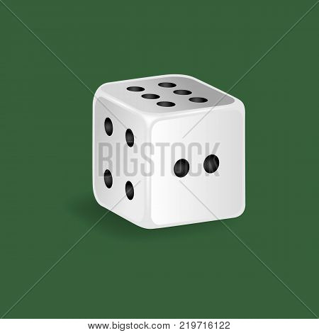 Realistic white dice. Gambling game, casino, dice. Hobbies, professional occupations. Dice casino gambling, with random various numbers: two, four six Vector illustration isolated