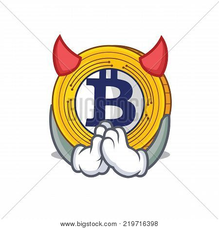 Devil Bitcoin Gold character cartoon vector illustration