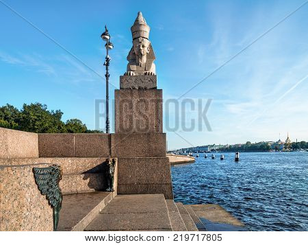 Sphinx on the pedestal and griffins on the granite embankment of the Neva River on the Vasilievsky Island in the city of St. Petersburg in Russia in summer in sunny weather