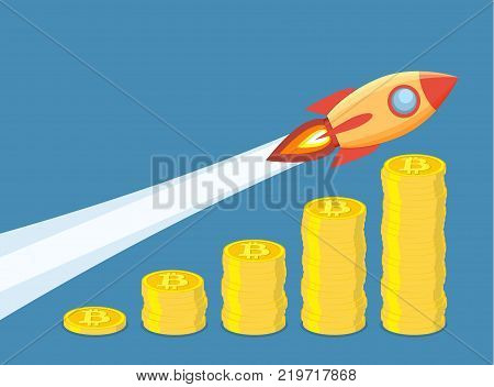 Bitcoin growth concept. Stacks of gold coins like income graph with bitcoin. rocket flying over stacks of Golden coin with bitcoin sign. Vector illustration in flat style