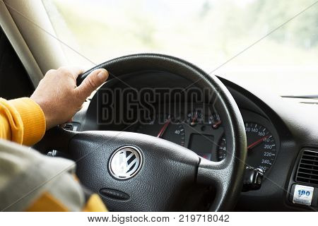 German old man driving car very fast on highway of Stuttgart go to Sandhausen district on September 3 2017 in Stuttgart Germany.