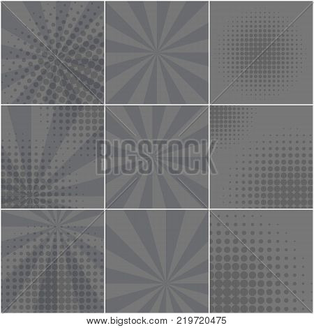 Monochrome halftone dotted and striped backgrounds set for pop art retro comic speech bubbles. Abstract gray balloon mockup for comics book text speech bubble message