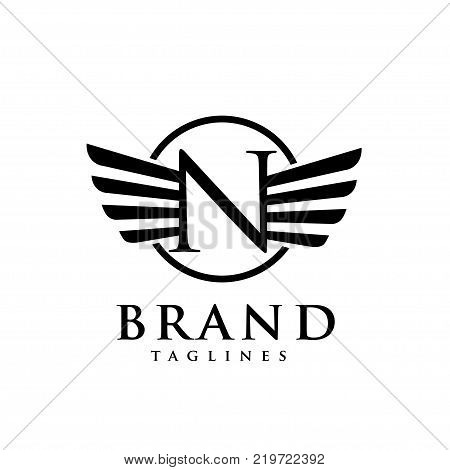letters N with wings and hexagon logo vector, Creative Letter N with wings design element. letter N wings Corporate branding identity Vector template