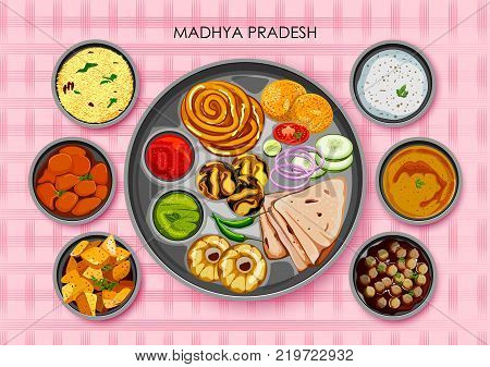 illustration of Traditional cuisine and food meal thali of Madhya Pradesh India