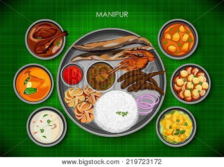 illustration of Traditional Manipuri cuisine and food meal thali of Manipur India