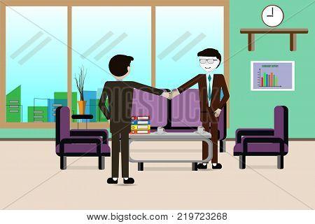 Handshake between joint venture business man after good management and have good concept - Vector illustration