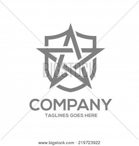 star and shield logo design concept template,.star security sign protection sign, star protect emblem flat shield logo design illustration isolated on white