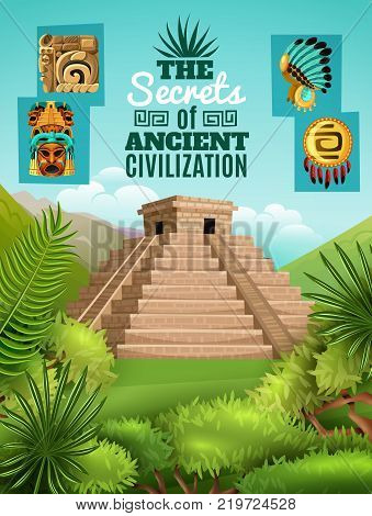 Maya cartoon poster with elements of ancient aztec culture and chichen itza pyramid image on mexico nature background vector illustration
