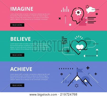 Flat line web banners of goals achieving. Line human profile, heart symbol and mountain peak for websites and marketing materials with call to action buttons, ready to use