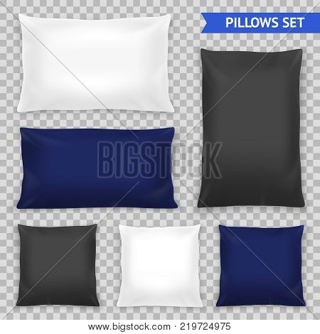 Realistic bedroom pillows various shapes and sizes set in white blue black top view transparent vector illustration