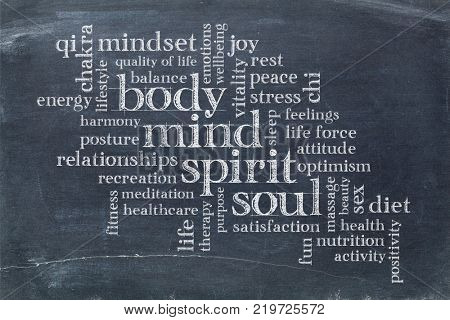 body, mind, spirit and soul cloud - white chalk text on a slate blackboard