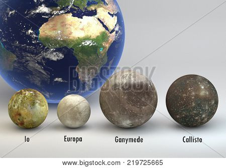This image represents the comparison between the moons of Jupiter with the Earth in a precise scientific design with captions