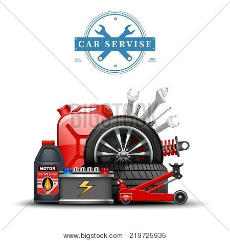 Auto service accessories colorful 3d composition with spanner oil car lift gasoline canister and battery vector illustration