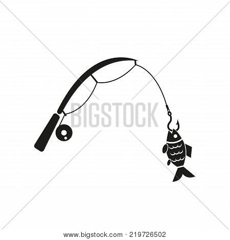Fishing rod icon. Hook and angling, fisherman symbol. Flat design. Stock - Vector illustration