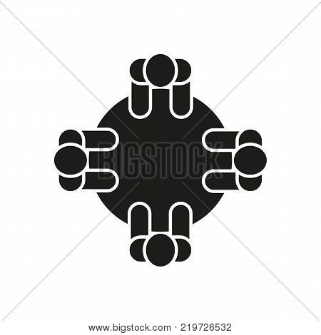 Seminar icon. Discussion and meeting, communication symbol. Flat design. Stock - Vector illustration