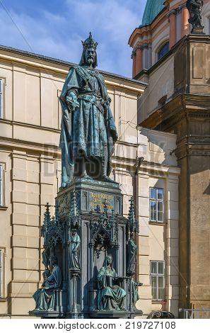 Charles IV Statue next to Prague Charles Bridge Czech republic