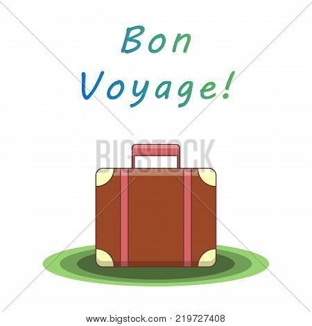 Bon voyage. Suitcase for traveling. Template for card, flyer, packaging Vector illustration