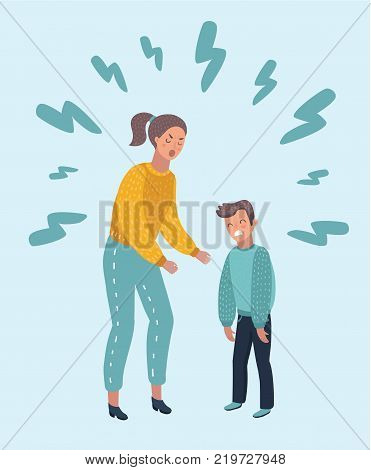 Vector cartoon illustration of angry Mom shouting at her son. Angry Mother yells at Little Sad Kid. Angry parent. Wrong education, psychology.