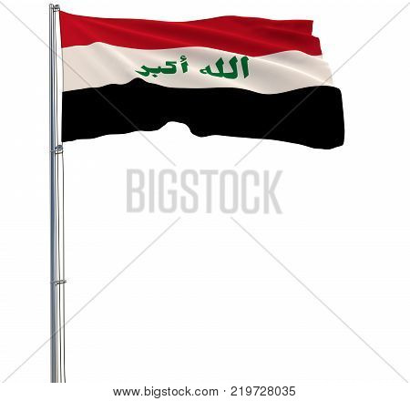 Isolated flag in colors of Iraq on a flagpole fluttering in the wind on a white background 3d rendering