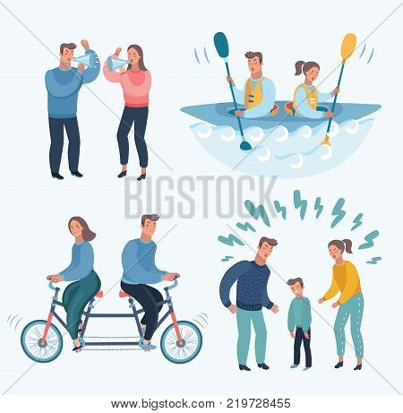 Vector cartoon illustration set of People  Quarrelling Making A Loud Public Scandal Characters Aggressive And Violent Behavior. Family trouble, yells. Angry man woman. Wrong relationship, psychology. poster