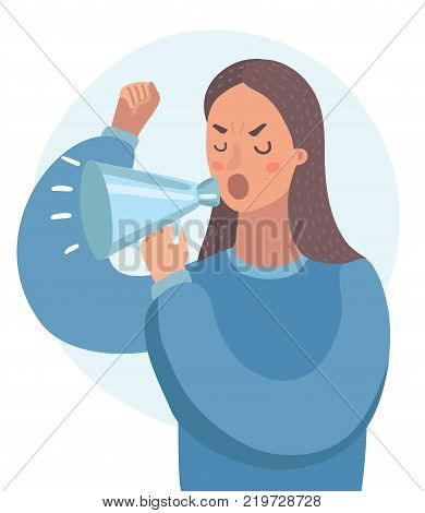 Vector cartoon funny illustration of woman shouting with megaphone. Close up view