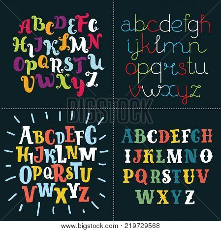 Vector illustration of collection of four funny alphabets and set of numbers. Cute colorful english font, hand drawn typeface. Funny cute set of lttters on black background.