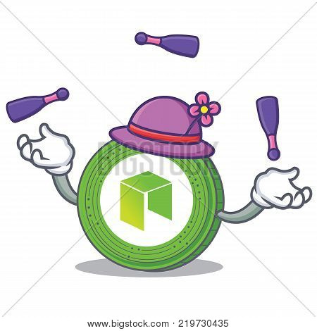 Juggling NEO coin character cartoon vector illustration