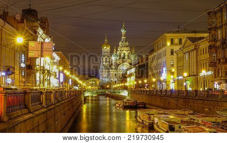 St. Petersburg Russia - Oct 8 2016. Night scenery of Saint Petersburg Russia. St Petersburg is inscribed on the UNESCO list as an area with 36 historical architectures.