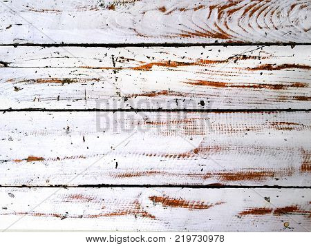 Scraped White Paint on Wooden Planks Background