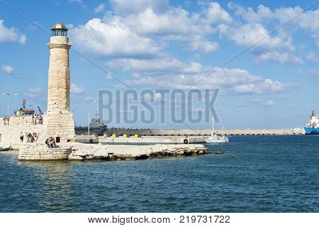 Lighthouse In Rethymno, Greece On A Sunny Day.