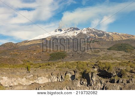The mount Etna Volcano with snow in Sicily Catania Italy (Sicilia Italia)