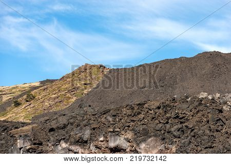 Detail of the hardened lava flow. Mount Etna Volcano Sicily island Catania Italy (Sicilia Italia)