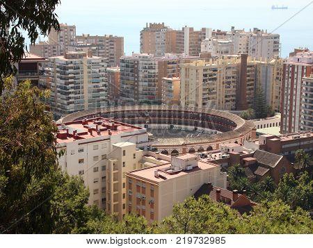 Malaga Bullfight Bullring Arena in Aerial View