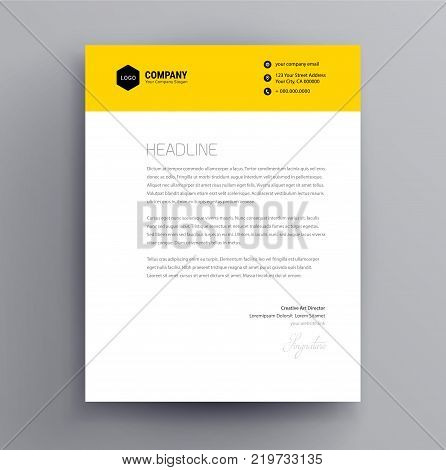 Letterhead design template and mockup minimalist style vector - yellow color