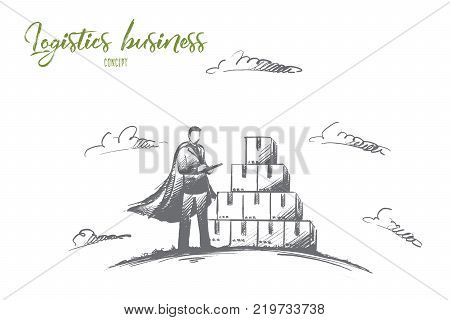 Logistics business concept. Hand drawn worker in warehouse checking boxes with logistics. Super hero manager worker isolated vector illustration.