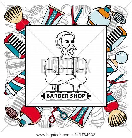vector flat barber shop poster with brutal hipster man with beard, shaving accesorries icons scissors, comb, shaving brush, barber pole, hairdresser sprayer gel. Isolated illustration white background