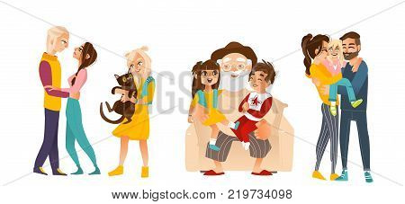 Hugging set with - loving couple, grandfather and kids, happy parents and daughter, little girl and her cat, flat vector illustration isolated on white background. Family members happy and hugging