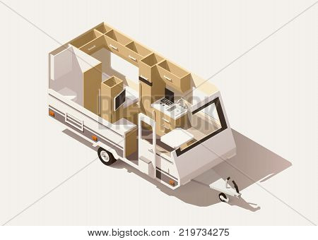Vector isometric low poly caravan trailer cross-section