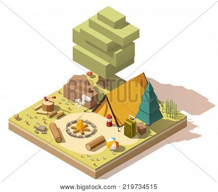 Vector isometric low poly campsite in the wood
