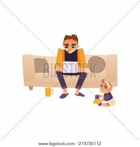 Young man, father on parental leave sitting on sofa with laptop, working from home, freelancer, flat cartoon vector illustration isolated on white background. Man working from home, freelancer