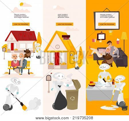 Vector robots, artificial intelligence in modern life infographic conseptual posters set. Robots assistants home robots helping with routine household chores, walking with animals, cleaning, repairing poster