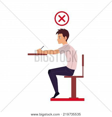 Man writing in incorrect sitting position - table too high, shoulders rolled forward, back hunched, cartoon vector illustration isolated on white background. Incorrect sitting position infographics