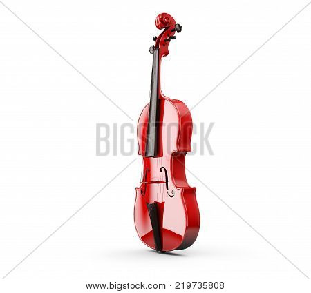 polished violin on background. 3d rendering Object, Isolated, Bow, Closeup, Art, Brown, Wooden,