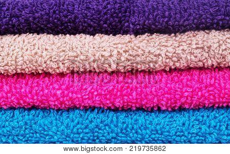 Colorful horizontal stripes closeup texture of a beach towel