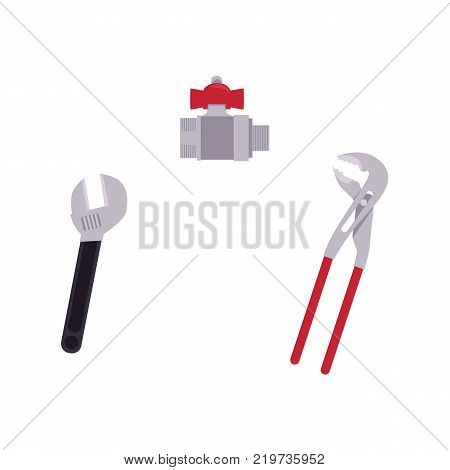 vector flat plumbing tools and equipment set. monkey plumbing or mechanic adjustable wrench or spanner, pipe wrench and water valve with fittings . Isolated illustration on a white background.