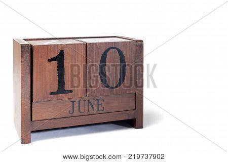 Wooden Perpetual Calendar set to June 10th