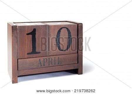 Wooden Perpetual Calendar set to April 10th