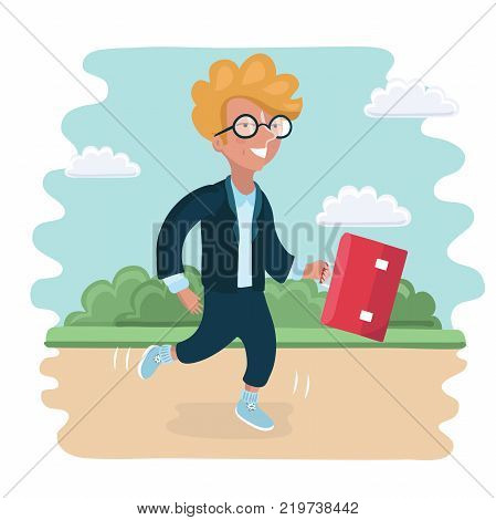 Vector cartoon illustation of clever boy go to school in the park landscape poster
